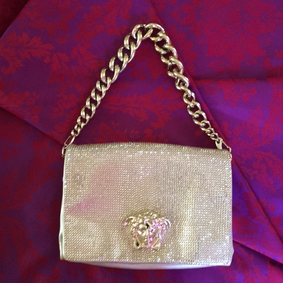 49a54a849a92 New Versace Gold Leather   Crystal evening bag.